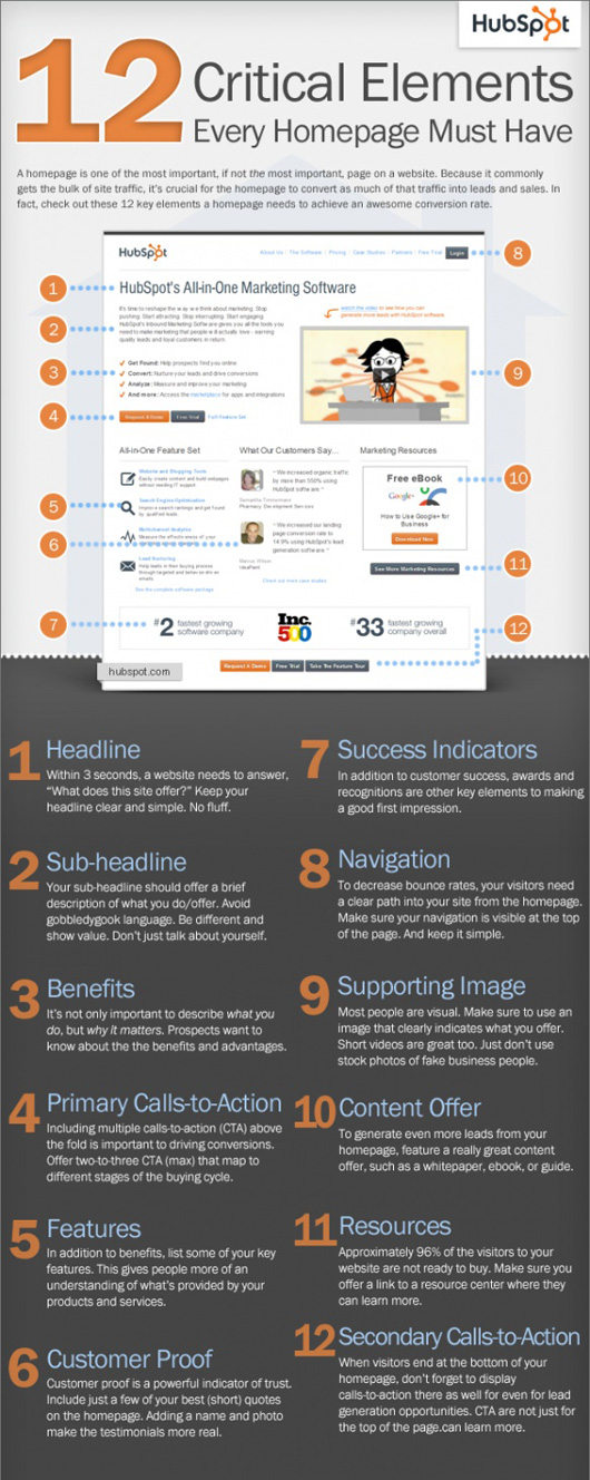 Must Have Homepage Elements Infographic