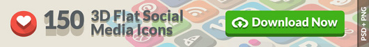 3D Flat Social Icons