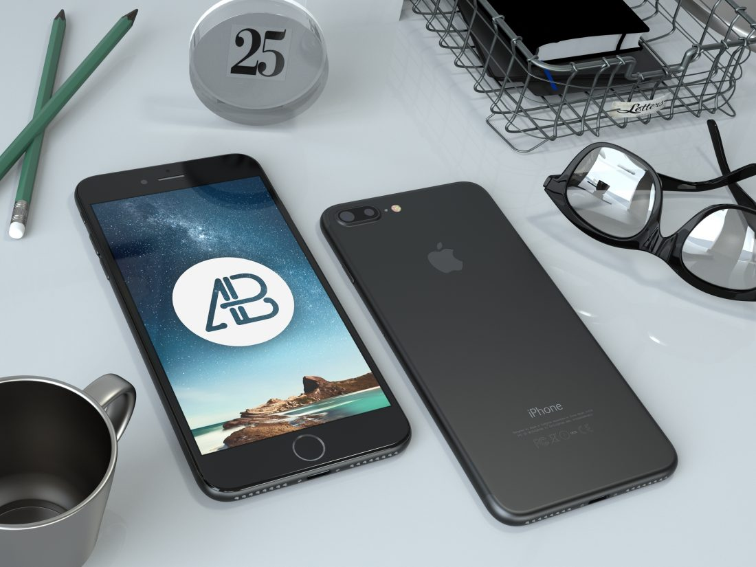 Realistic Black iPhone 7 Plus Mockup by Anthony Boyd