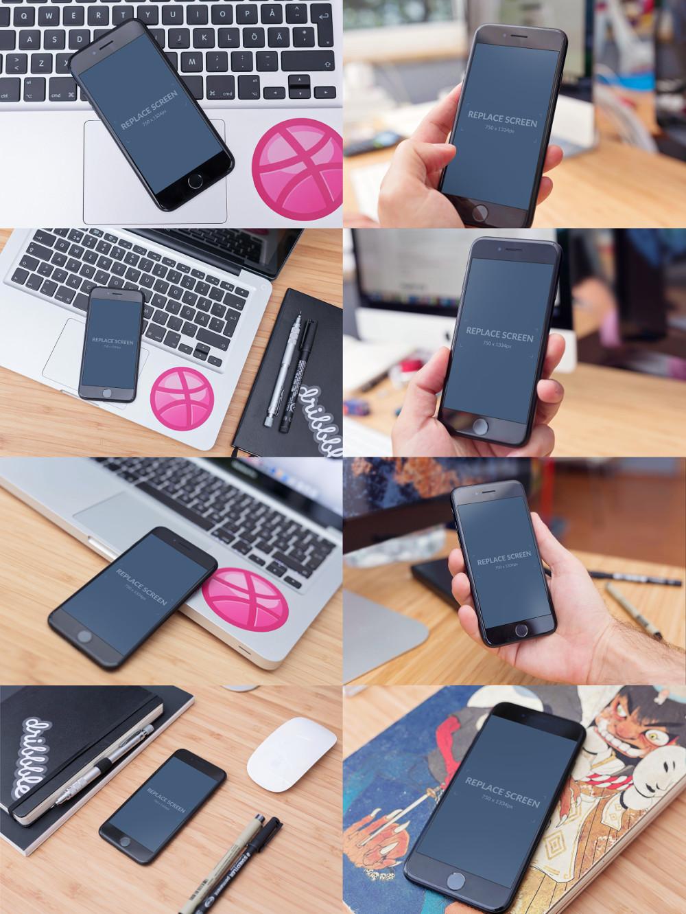 FREE Mockups - Black Matte iPhone 7 by Virgil Pana