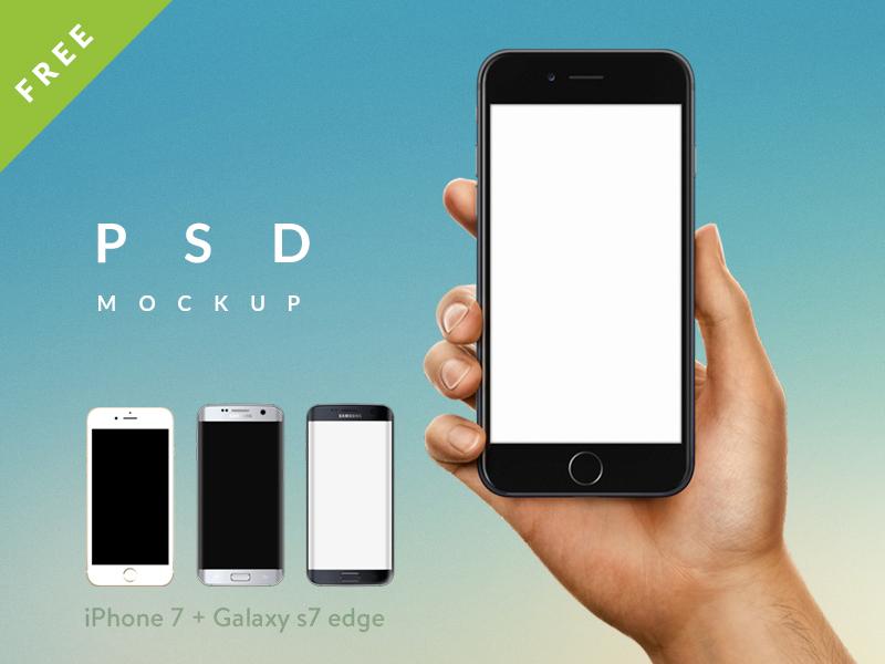 iPhone 7 / Galaxy s7 edge in Male / Female Hand PSD mockup by Tanya Mau