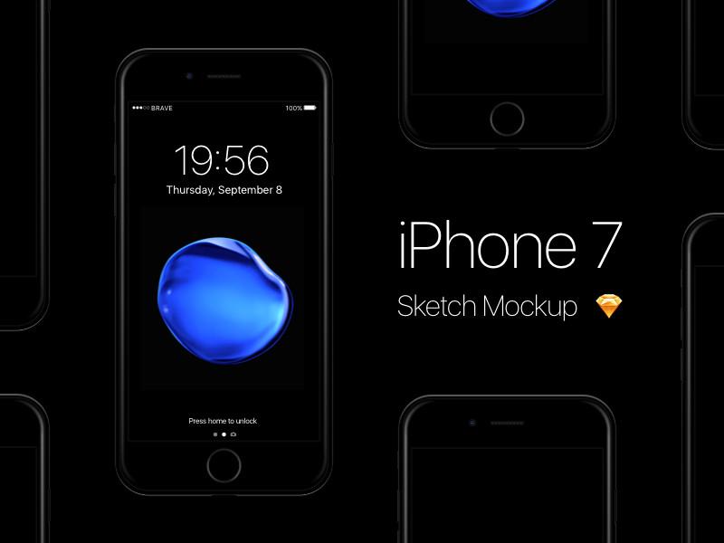 Free iPhone 7 - Jet Black Sketch Mockup by Pontus Börjesson