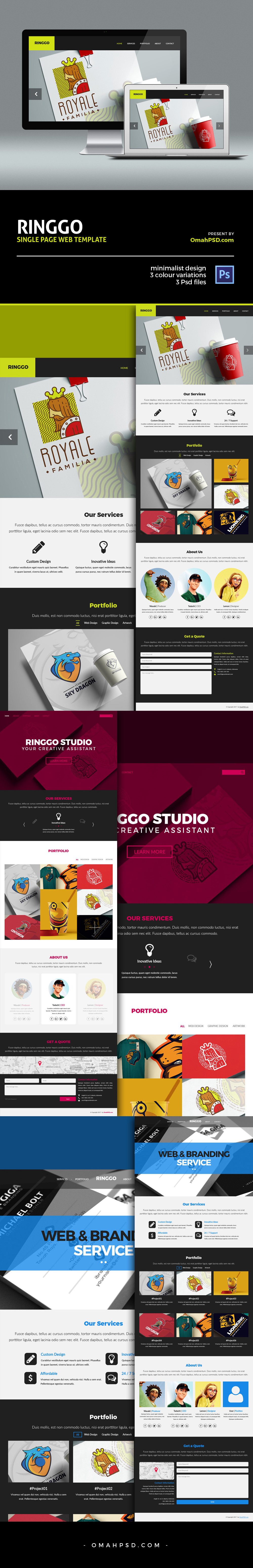 Free Ringgo One Page Portfolio PSD Template