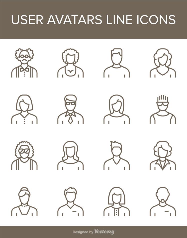 Free User Avatars Line Icons