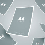 Free Floating A4 Paper Mockup (4 Scenes, PSD)