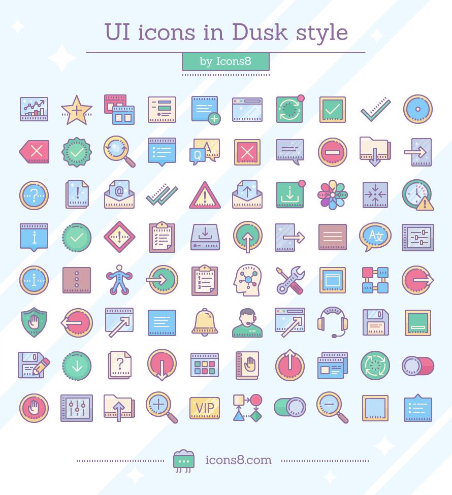 Free Dusk UI icons by Icons8