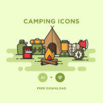 12 Camping Icons (AI & Sketch)