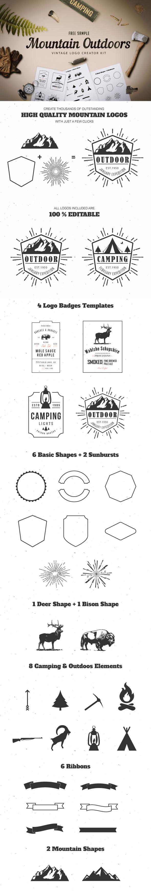 Free Sample Mountain Outdoor Vintage Logo Kit