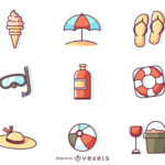 Flat Stroke Summer Icons (9 Icons, AI)
