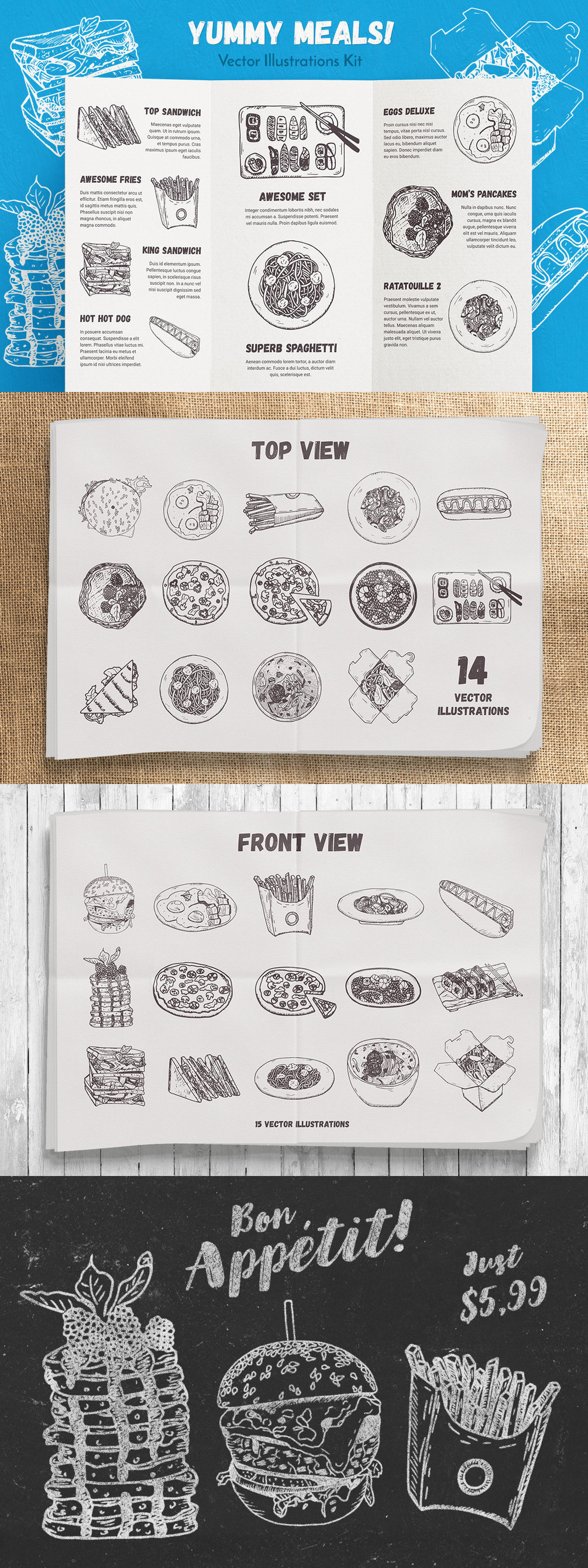 Yummy Meals Vector Set