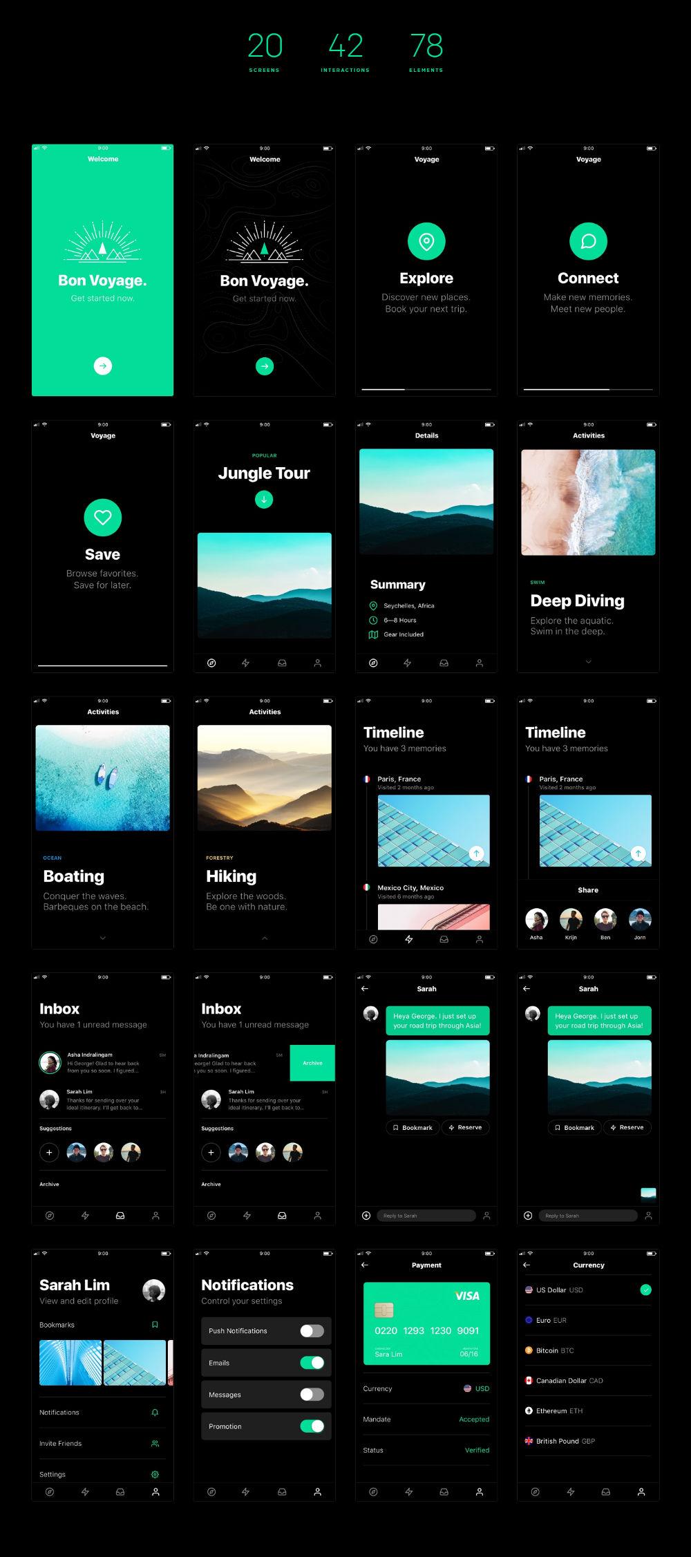 Voyage Free Interactive UI Kit
