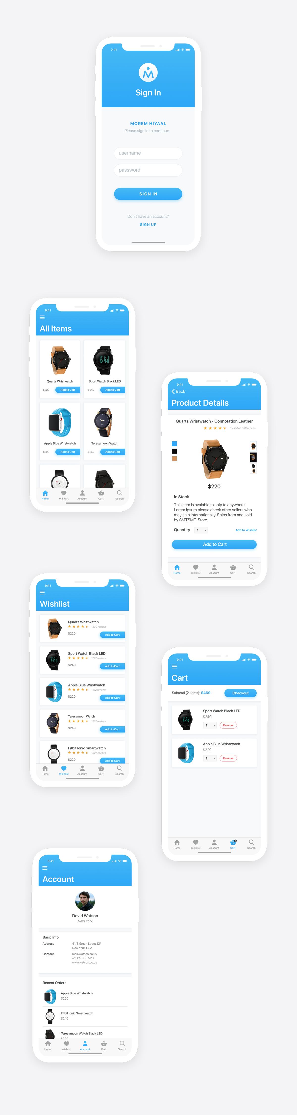 Morem Hiyaal - Free eCommerce iOS UI Kit