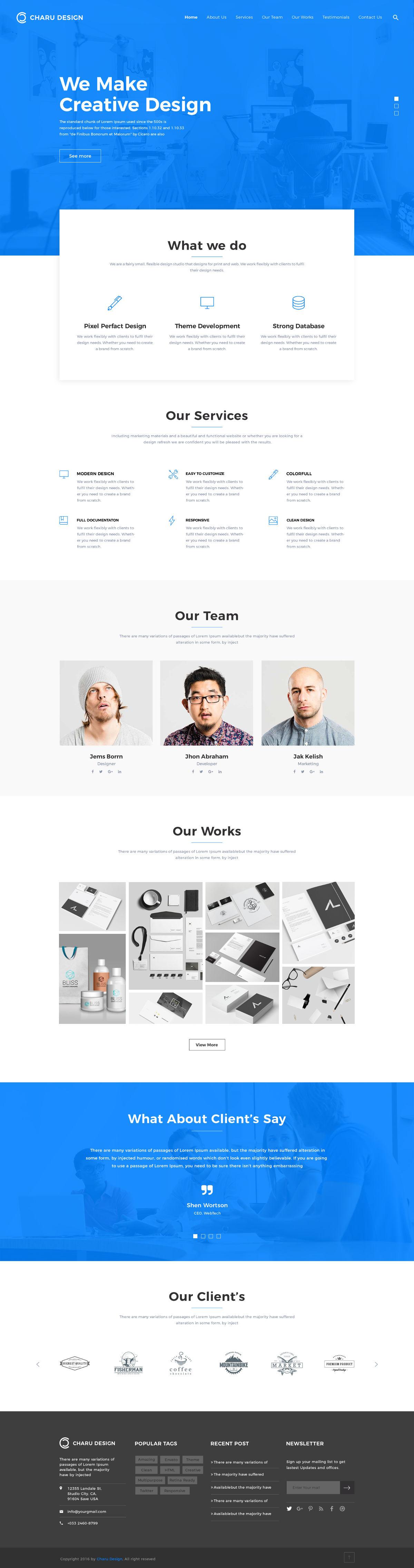 Charu Design Free Website PSD Template