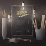 Home Vintage Mockup Scene (Front View, PSD)
