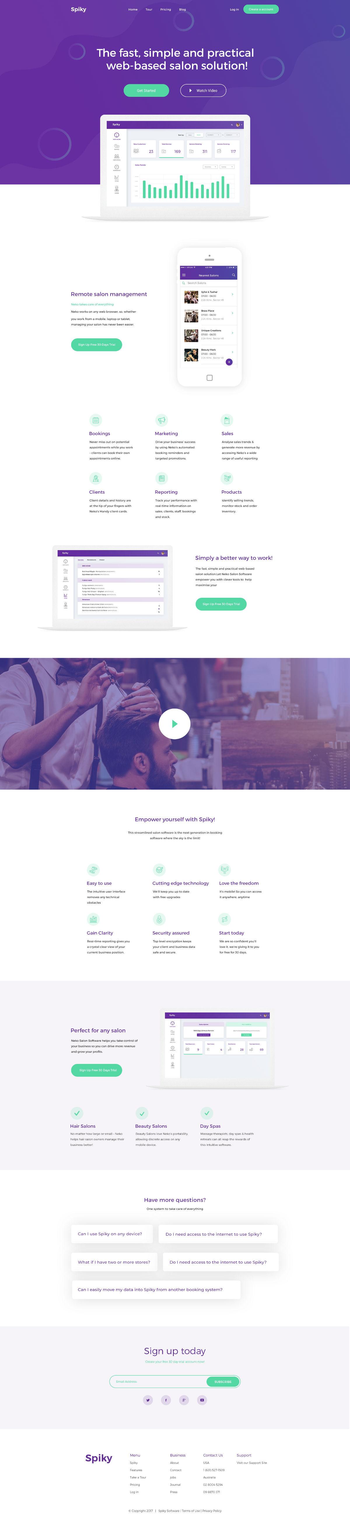 Free Spiky Salon Software Landing Page PSD