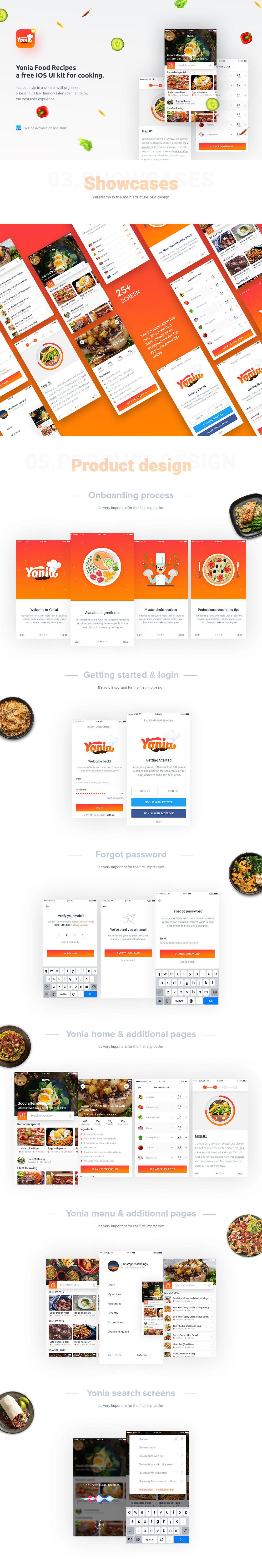 Yonia Food Recipes iOS App UI Kit