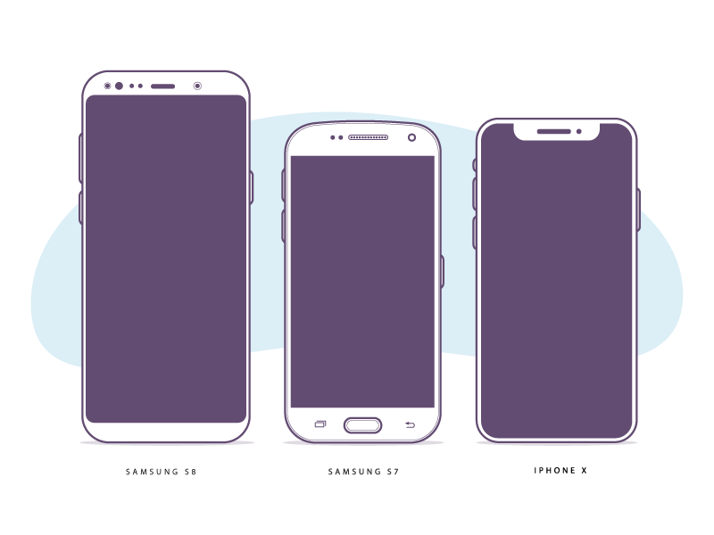 Free Device Illustrations (Samsung S7, S8 & iPhone X)