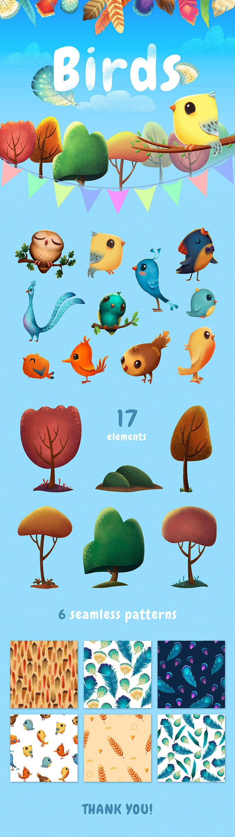 Birds And Feathers Graphic Pack