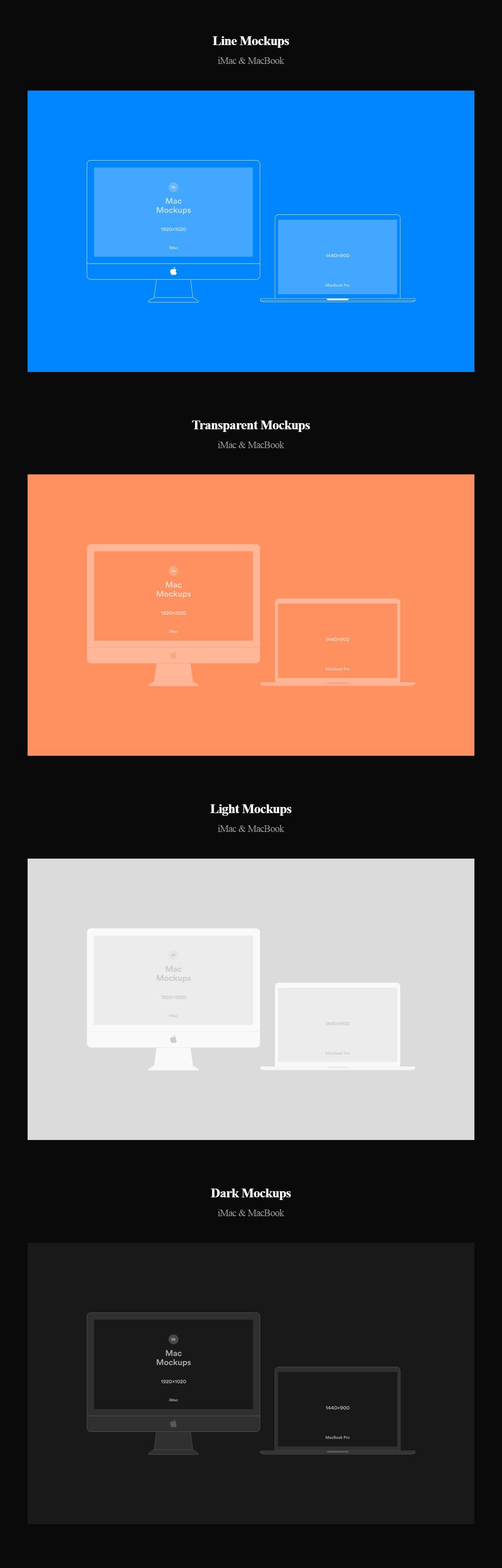 Free iMac and MacBook Vector Mockups