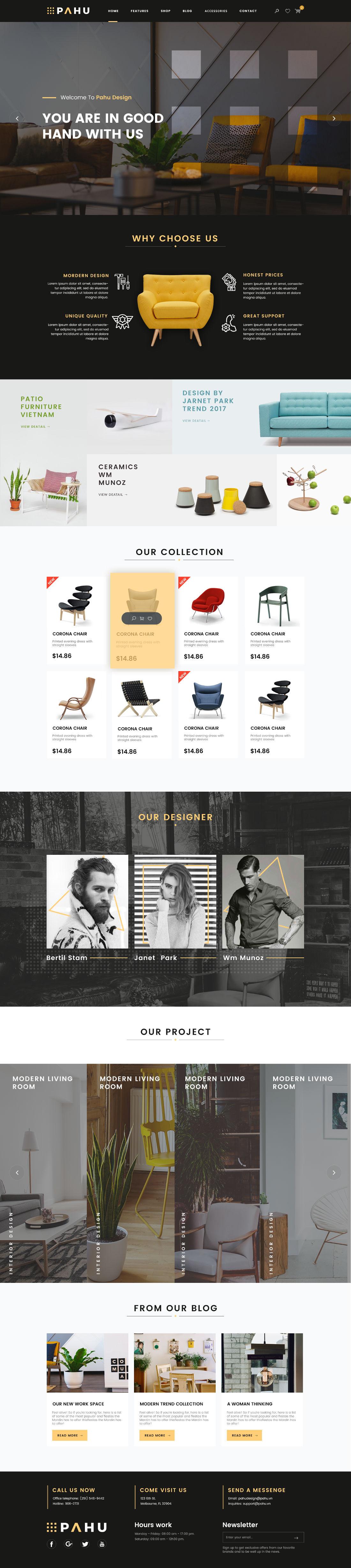 Free PAHU Interior Design Website Template