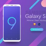 Samsung Galaxy S9 Minimal Clean Mockup (PSD, Sketch)