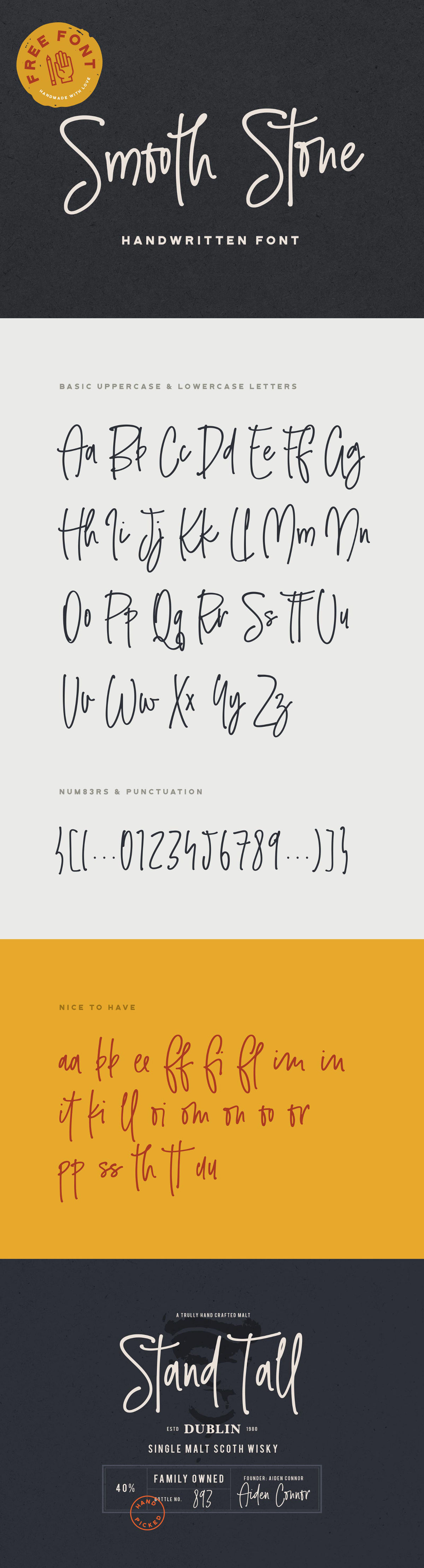 Smooth Stone Free Handwritten Font