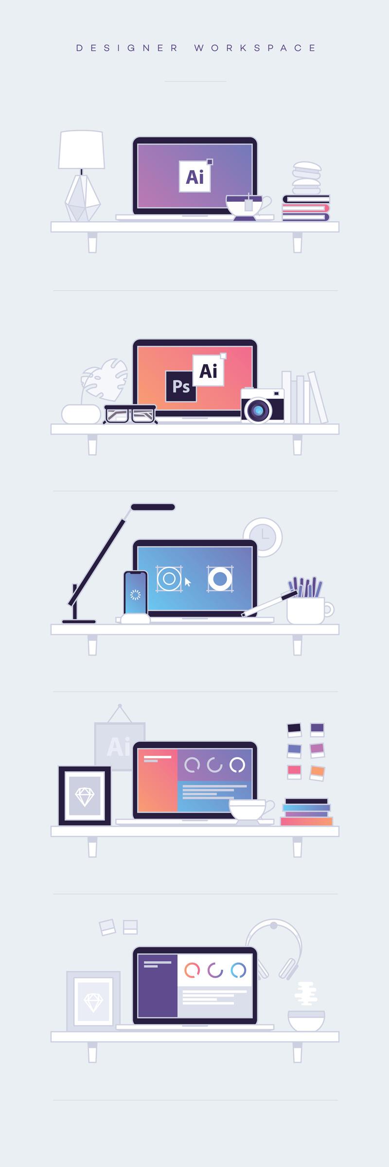 Free Designer Workspace Illustrations