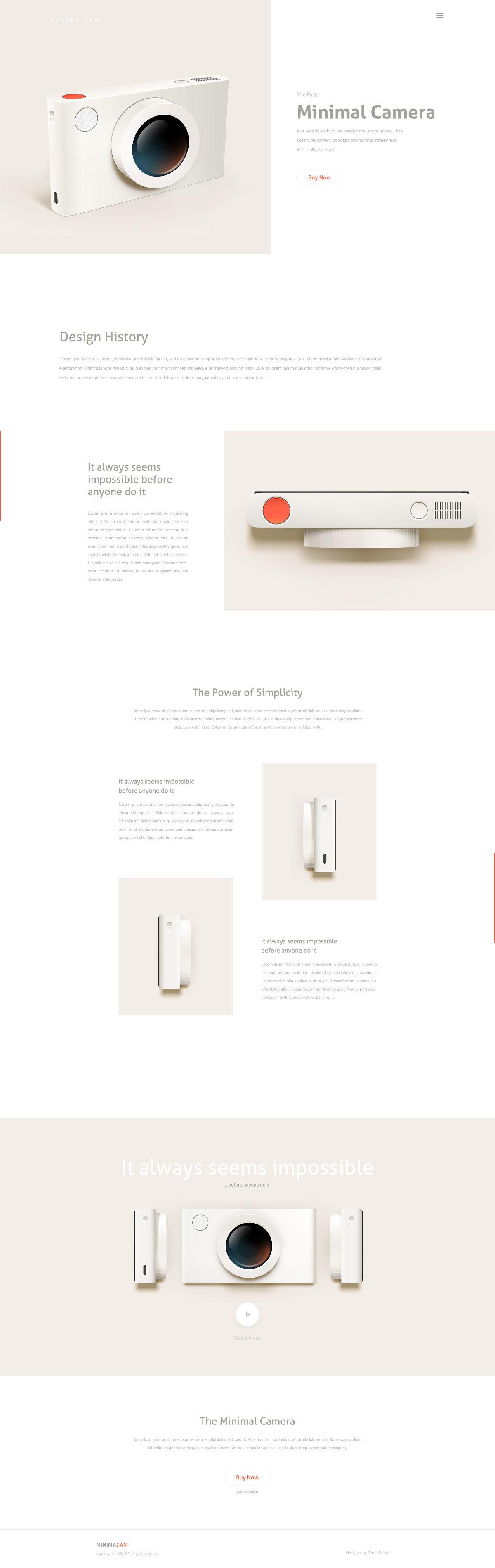 MinimaCam - Free Camera Landing Page