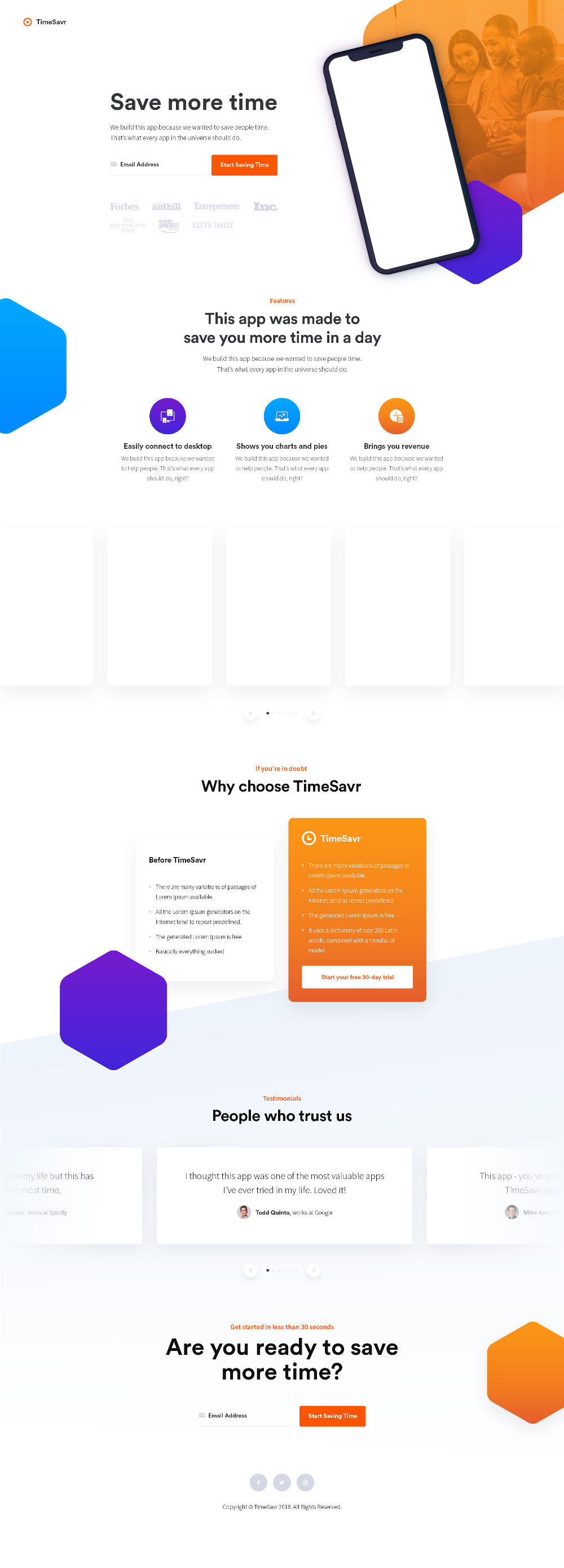 Free Modern App Landing Page PSD Template