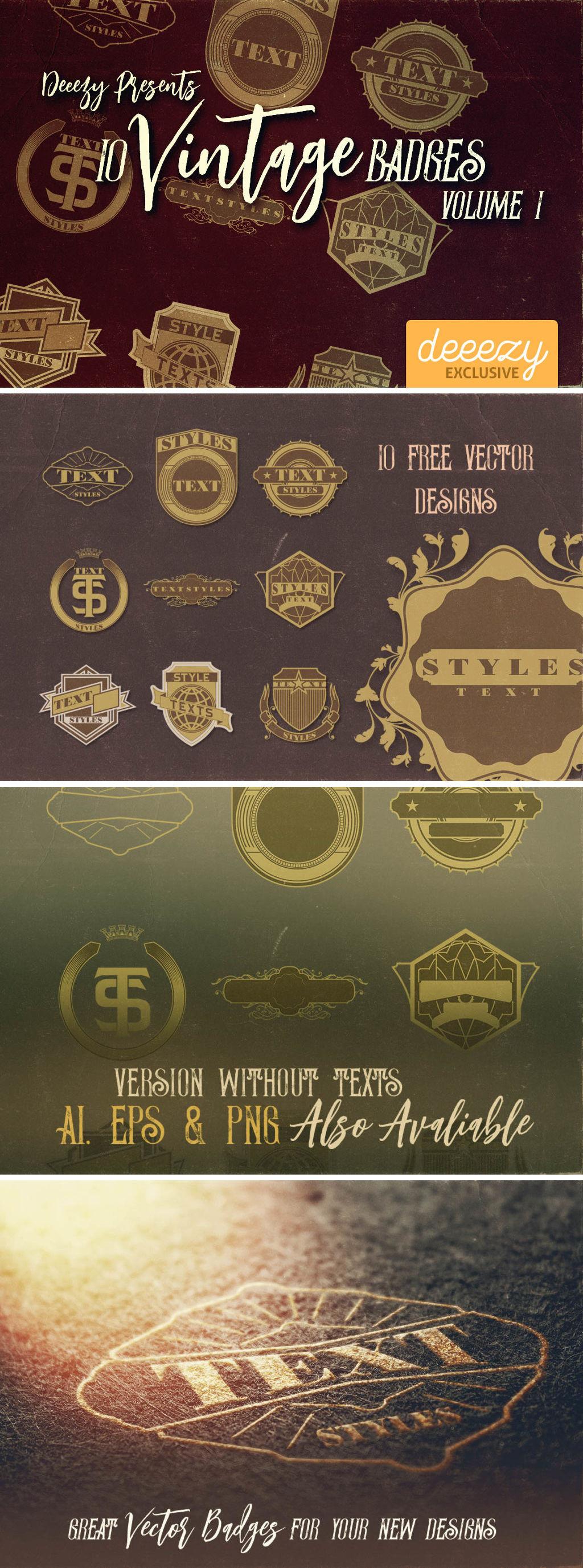 Free Vintage Ornamental Badges