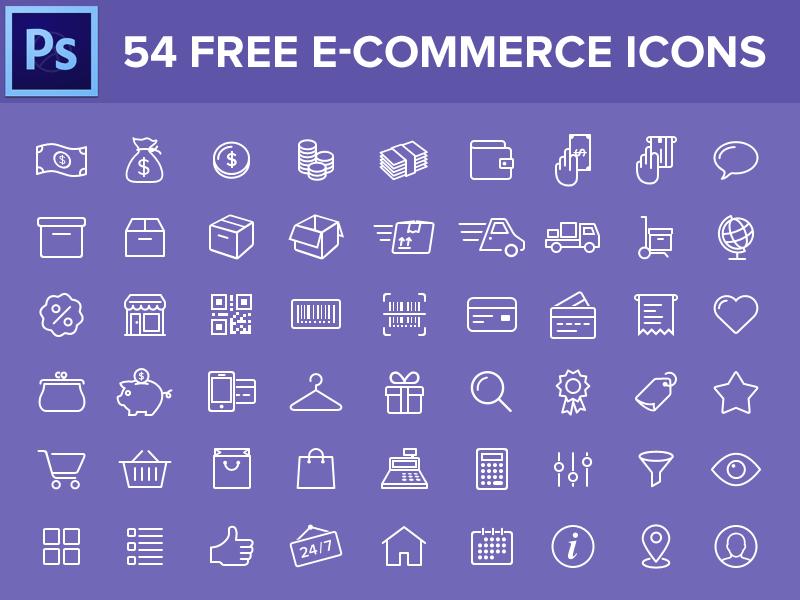 54 Free eCommerce Icons