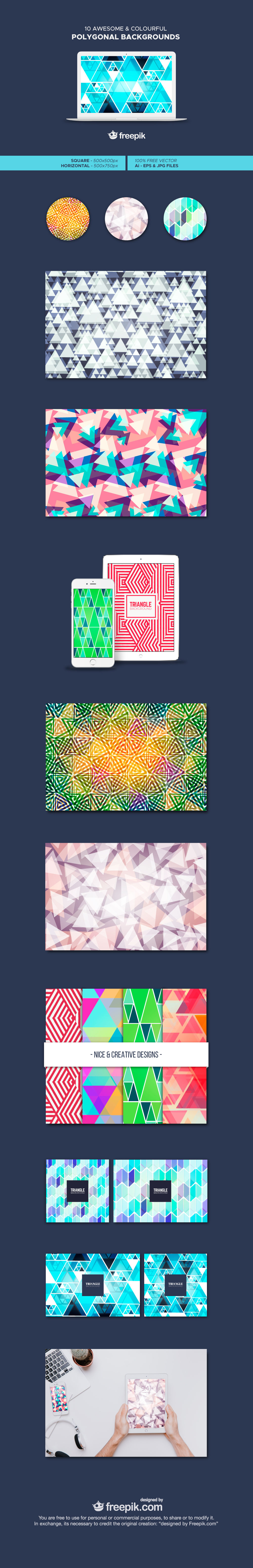 Freebie: 10 Awesome and Colorful Polygonal Backgrounds