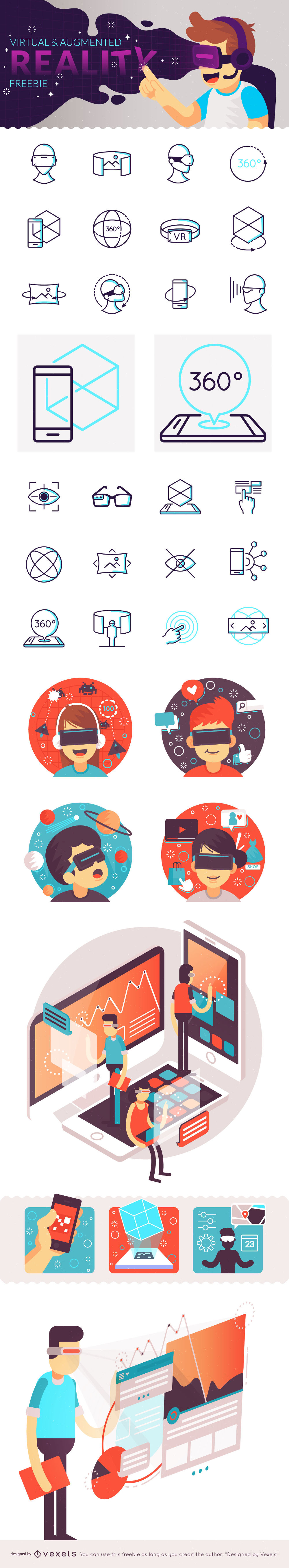 Free Augmented and Virtual Reality Icon Set