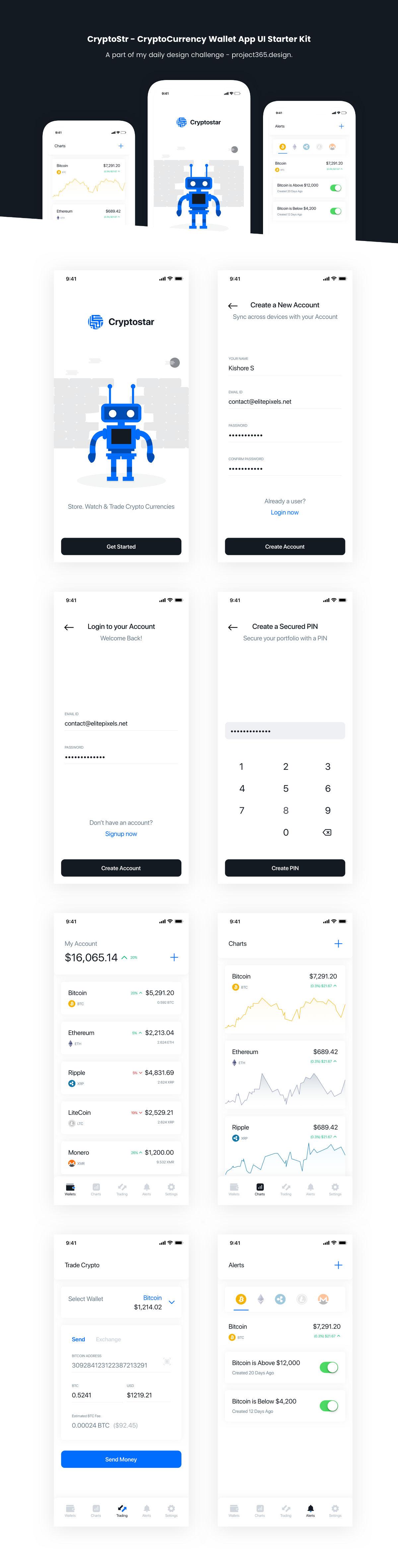 Crypto App - iOS UI Kit Freebie