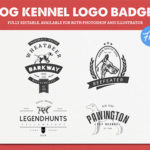4 Dog Kennel Logo Templates