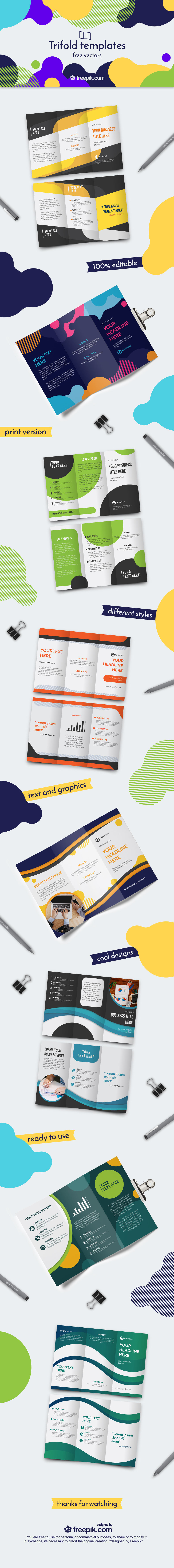 10 Trifold Templates Free Vectors