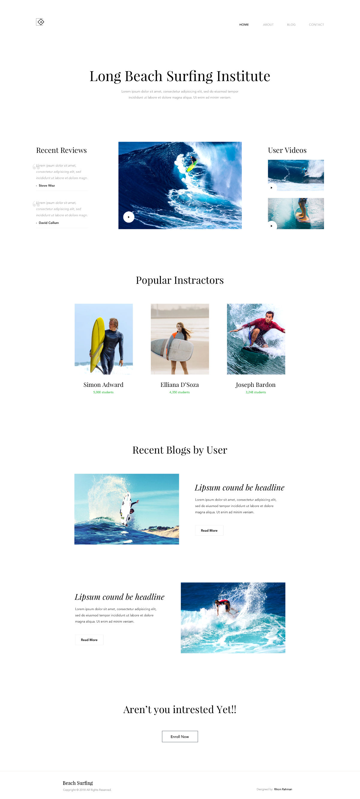 Free Surfing Institute Landing Page Template