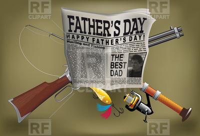 Man's Hobby Newspaper Fishing Hunting Free Vector Image