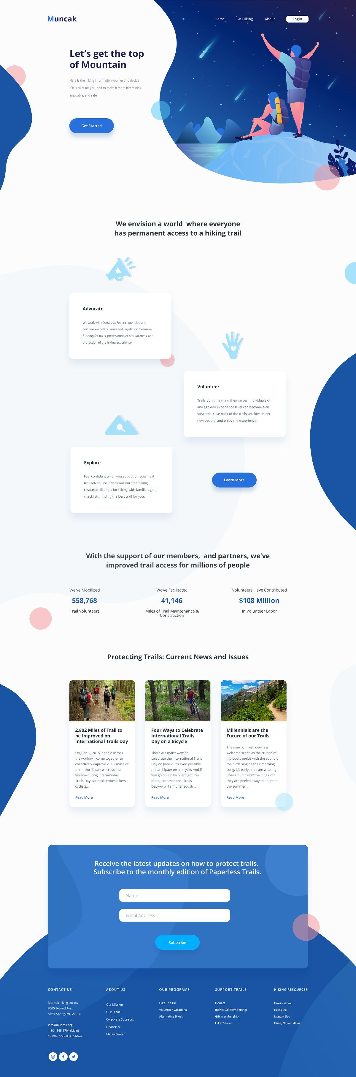 Muncak - Free Hiking Landing Page