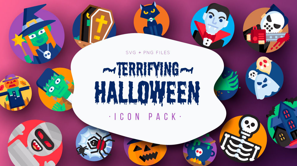 Free Download: Terrifying Halloween Icon Pack (50 icons, SVG, PNG