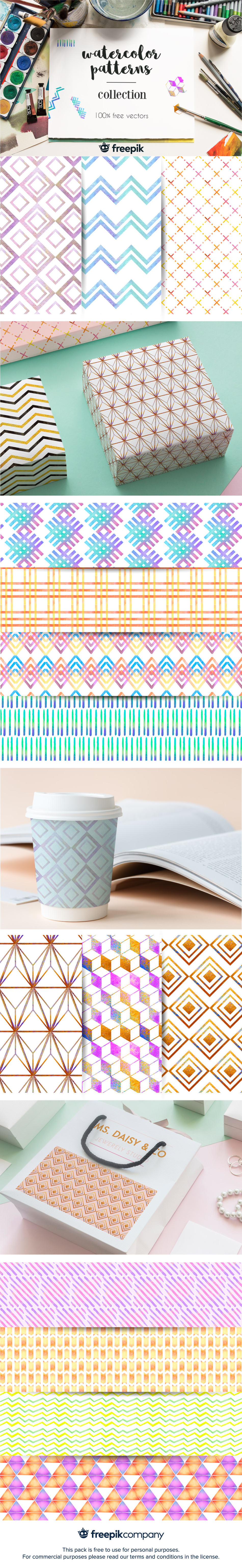Free Watercolor Geometric Patterns Collection
