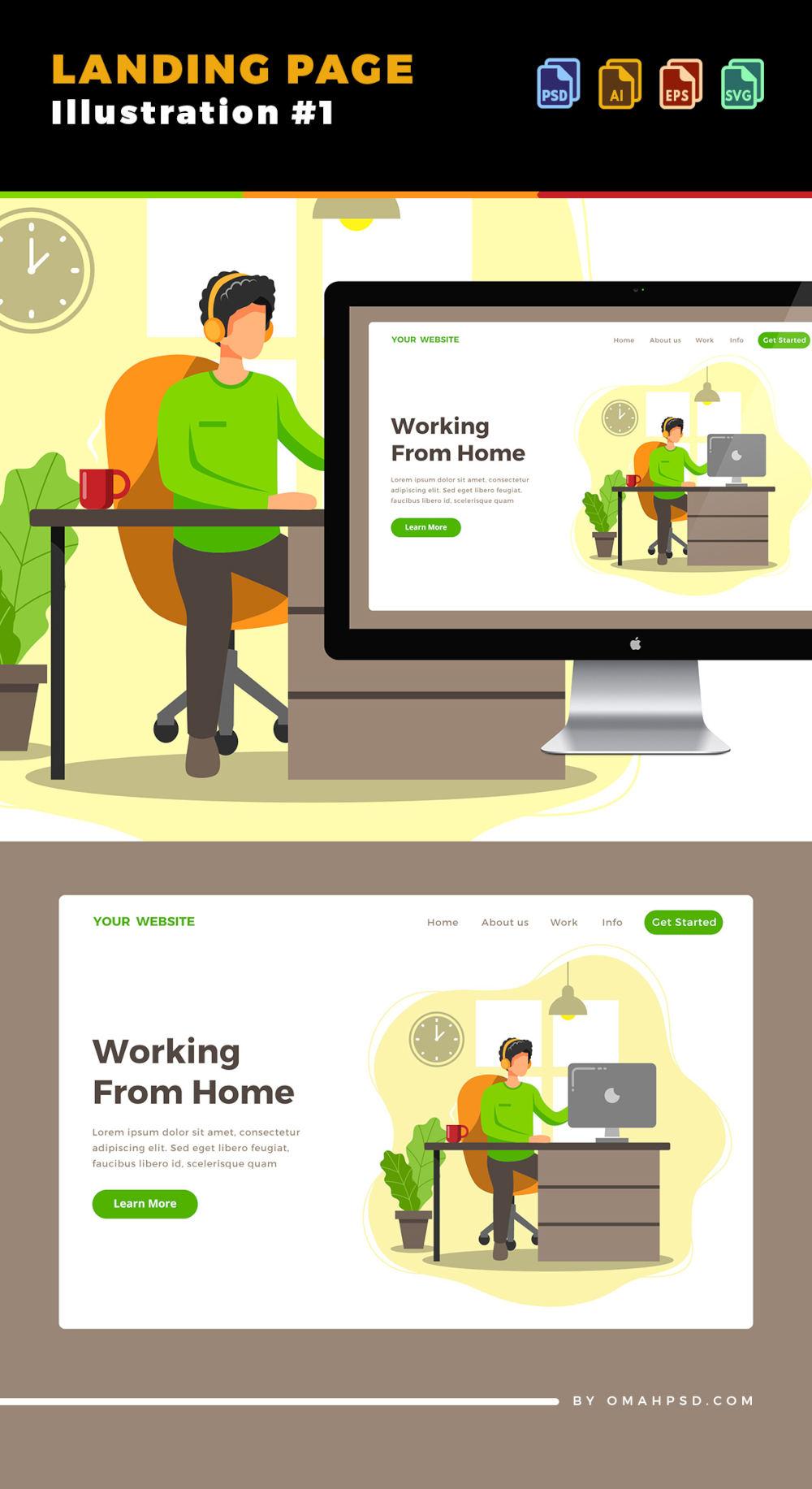 Free WFH Illustrtion Landing Page Template